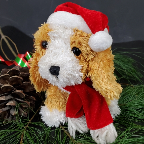 Kurt S Adler Plush Xmas Dog Barks & Plays Music NW